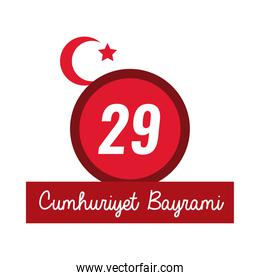cumhuriyet bayrami celebration day with number 29 and message flat style