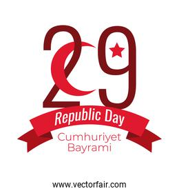 cumhuriyet bayrami celebration day with number 29 and crescent moon ribbon flat style