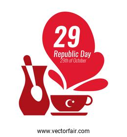 cumhuriyet bayrami celebration day with 29 number with teapot and teacup flat style