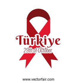 cumhuriyet bayrami celebration day with lettering and campaign ribbon flat style