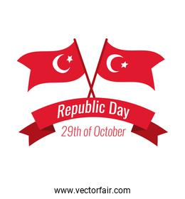 cumhuriyet bayrami celebration day with lettering and turkey flags flat style