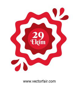 cumhuriyet bayrami celebration day with 29 number in lace flat style