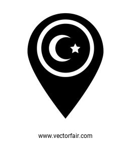 cumhuriyet bayrami moon and star symbol in pin location silhouette style