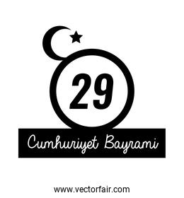 cumhuriyet bayrami celebration day with number 29 and message silhouette style