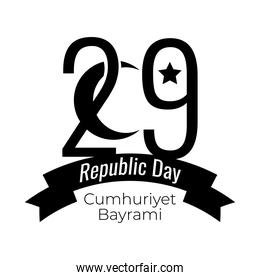 cumhuriyet bayrami celebration day with number 29 and crescent moon ribbon silhouette style