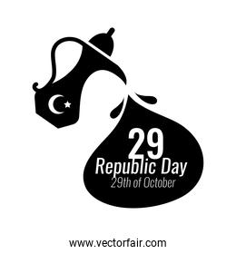 cumhuriyet bayrami celebration day with 29 number in teapot silhouette style