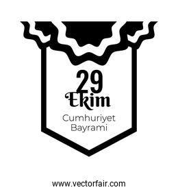 cumhuriyet bayrami celebration day with 29 number in emblem hanging silhouette style