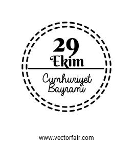 cumhuriyet bayrami celebration day with 29 number in seal stamp silhouette style