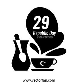 cumhuriyet bayrami celebration day with 29 number with teapot and teacup silhouette style