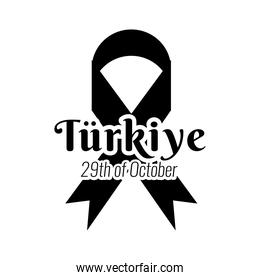 cumhuriyet bayrami celebration day with lettering and campaign ribbon silhouette style