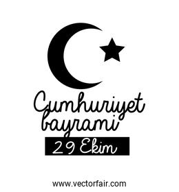 cumhuriyet bayrami celebration day with lettering star and moon silhouette style