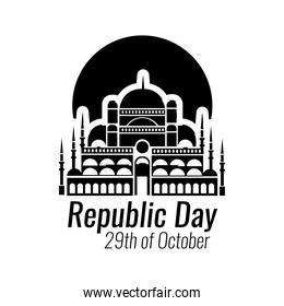 cumhuriyet bayrami celebration day with blue mosque front silhouette style