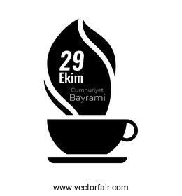 cumhuriyet bayrami celebration day with 29 number in teacup smoke silhouette style
