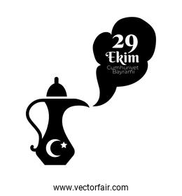 cumhuriyet bayrami celebration day with 29 number in magic lamp silhouette style