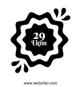 cumhuriyet bayrami celebration day with 29 number in lace silhouette style