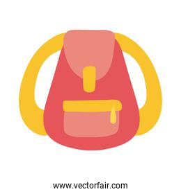yellow and red school bag equipment flat style icon
