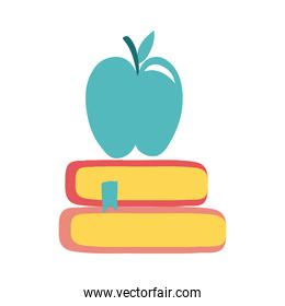 pile text books and apple school supply flat style icon