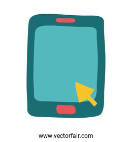 tablet with arrow mouse flat style icon