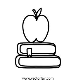 pile text books and apple school supply line style icon