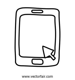 tablet with arrow mouse line style icon