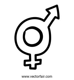 hermaphrodite gender symbol of sexual orientation line style icon