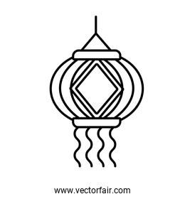 diwali paper lamp hanging decoration line style icon