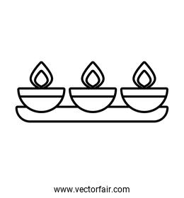 diwali candles in shelf line style icon