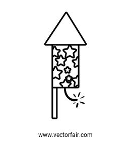 diwali rocket firework with stars line style icon
