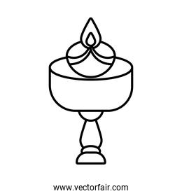 diwali candle in wooden table line style icon