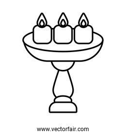 diwali candles in table line style icon