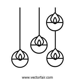 diwali candles hanging line style icon