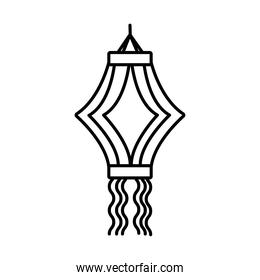 diwali paper lamp hanging line style icon
