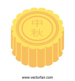 mid autumn cake sweet with letters chinese flat style icon