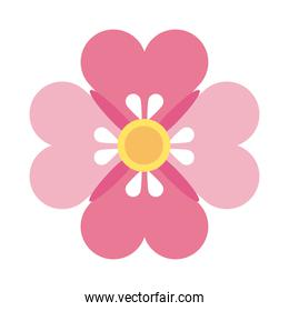 mid autumn pink and yellow flower flat style icon