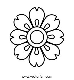 mid autumn decorative flower blue and yellow line style icon