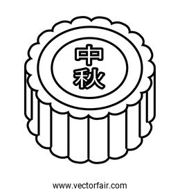mid autumn cake sweet with letters chinese line style icon
