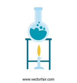 medical tube test flask in burner laboratory flat icon
