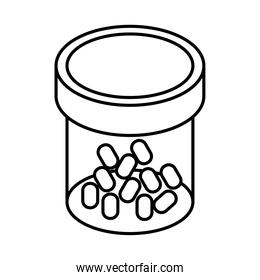 medicine capsules drugs in bottle line style icon