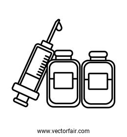vaccine syringe with drugs bottles line style icon