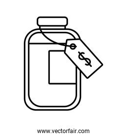 bottle of medicine drugs with price tag line style icon