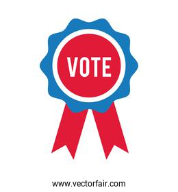 vote word in medal ribbon usa elections flat style icon