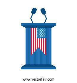 usa elections flag in speech podium flat style icon