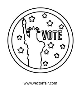 vote word and liberty statue usa elections line style icon