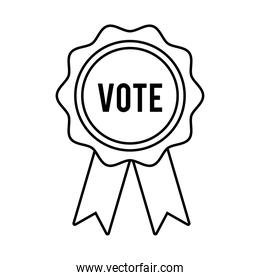 vote word in medal ribbon usa elections line style icon