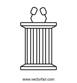 usa elections flag in speech podium line style icon