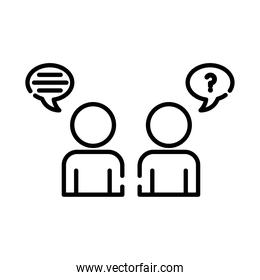 teamworkers figures with speech bubbles coworking line style icon