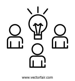 teamworkers figures with bulb coworking line style icon