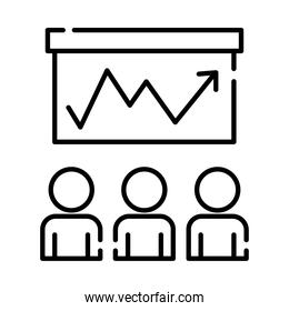 teamworkers figures with statistics coworking line style icon