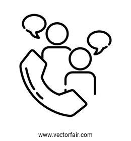 teamworkers with speech bubbles and telephone coworking line style icon
