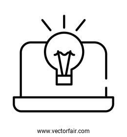 laptop with bulb line style icon